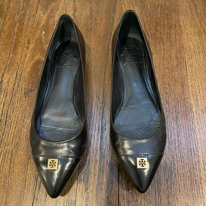 Tory Burch pointed toe black flats